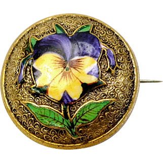 Antique Victorian purple yellow enamel pansy flower round brass brooch