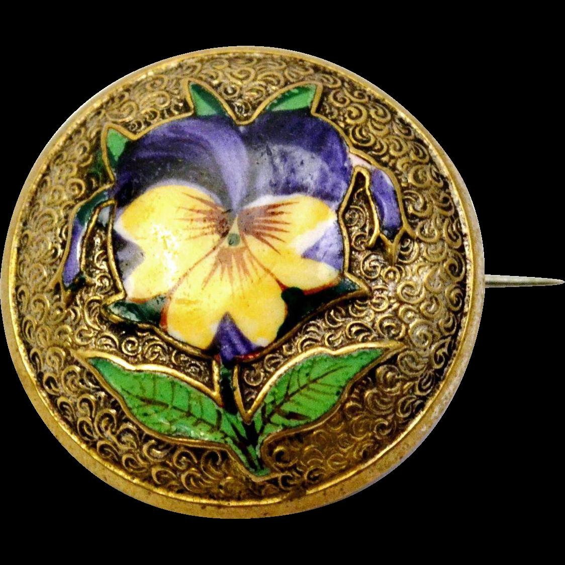Antique Victorian purple yellow enamel pansy flower round brass brooch