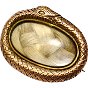 RESERVED FOR LORNA Antique Georgian gold filled snake ouroboros border blond hair mourning brooch