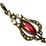 Antique Edwardian 9ct gold hallmarked split pearl ruby red glass pendant