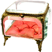Antique Victorian French ormolu beveled glass casket vitrine jewelry box