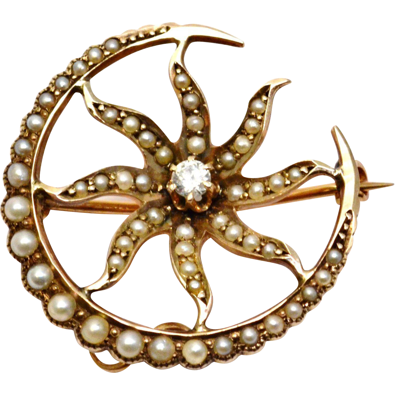Antique Victorian 14k gold seed pearl diamond crescent moon sunburst watch pin brooch
