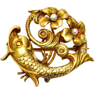 Antique Victorian 10k gold pearl renaissance dolphin fish watch pin brooch