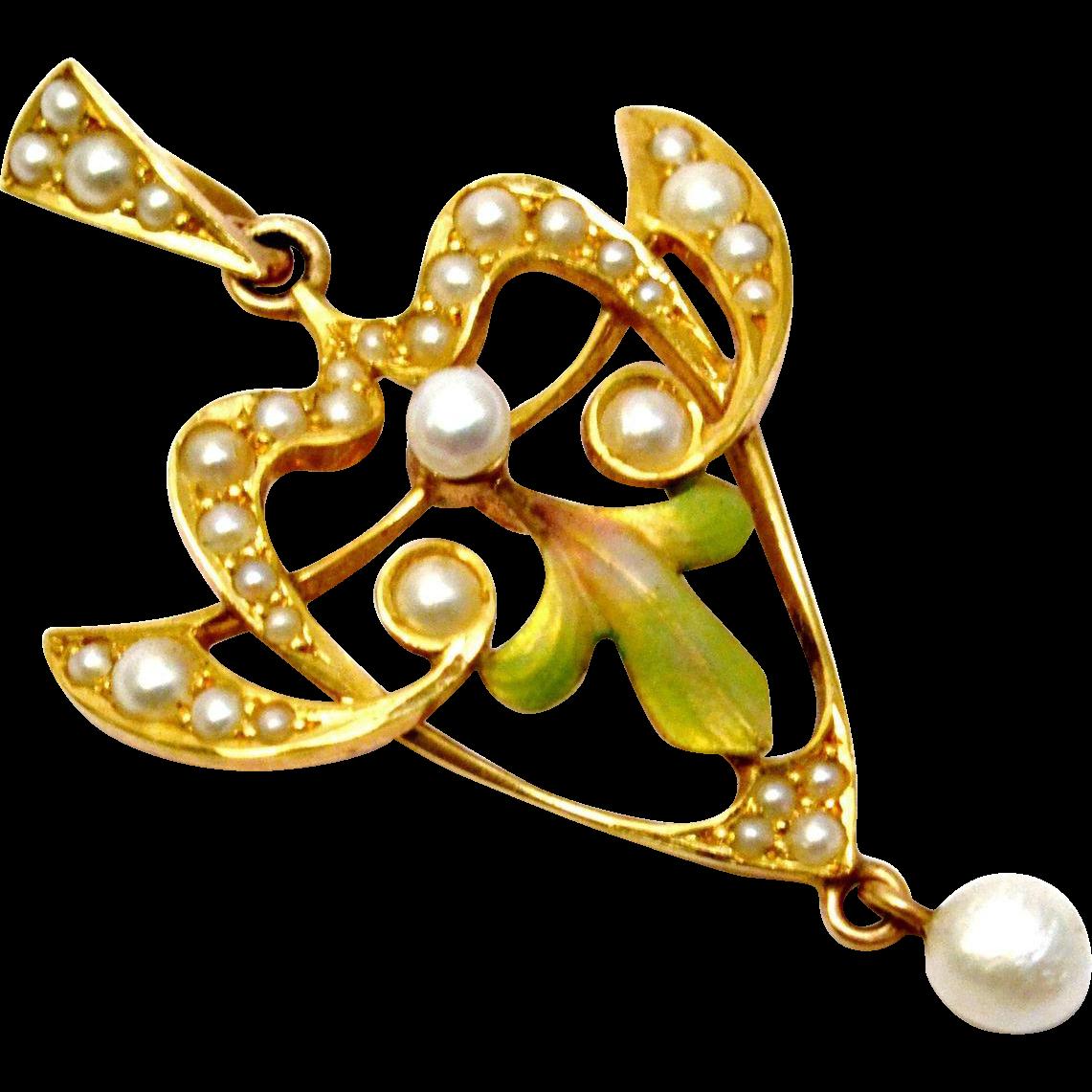 Antique Art Nouveau 14k gold Krementz signed seed pearl enamel pendant