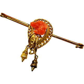 Antique Victorian gold filled carved salmon coral dog head bar pin brooch