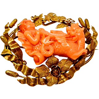 Antique Victorian 14k gold cattails flowers framed mythological carved coral cameo brooch pin