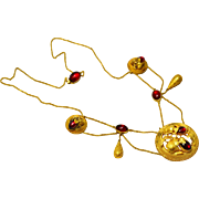 Antique Victorian 14k gold naturalistic garnet paste festoon necklace
