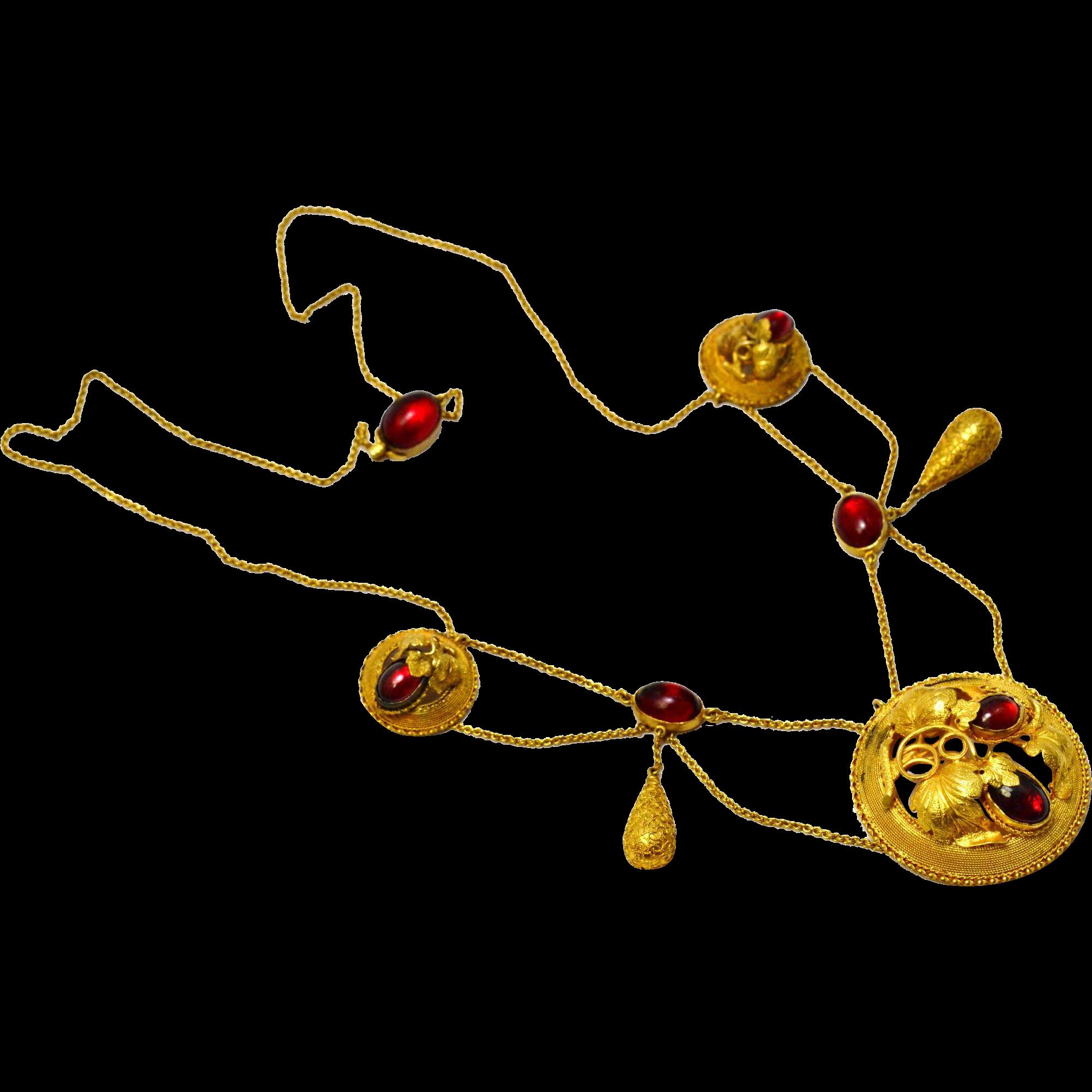 Antique Victorian 14k gold naturalistic garnet paste festoon necklace
