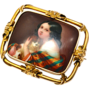 Antique Victorian 14k gold framed girl and dog handpainted porcelain brooch