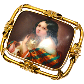 Antique Victorian 14k gold framed girl and dog handpainted porcelain brooch