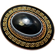 Antique Victorian 14k gold bullseye agate cab black enamel greek key patterned mourning locket back brooch pin