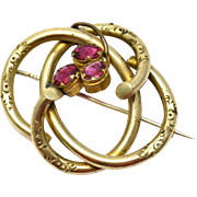 Antique Victorian large gold filled hollow tube hot pink glass love knot brooch