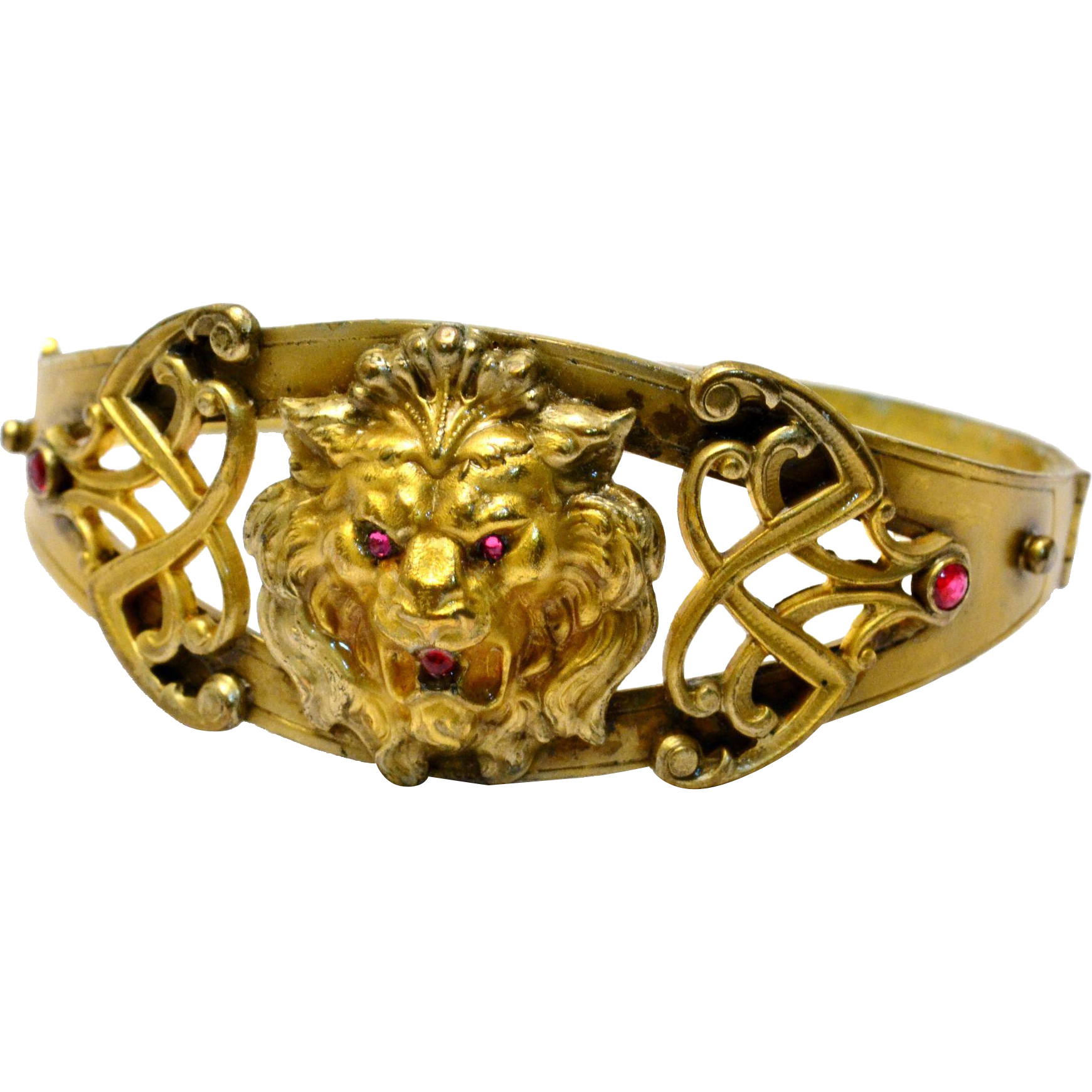 Antique Art Nouveau Foster and Bailey hallmarked gold plated brass ruby paste lion hinged cuff bracelet