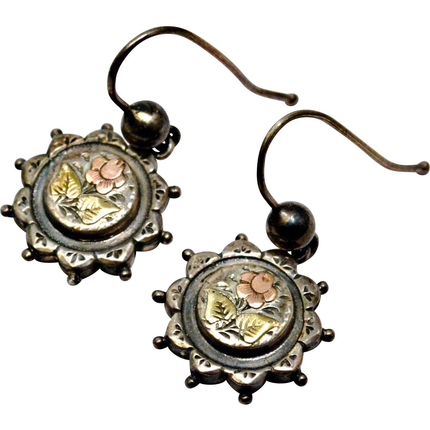Antique Victorian English sterling silver yellow and rose gold floral earrings