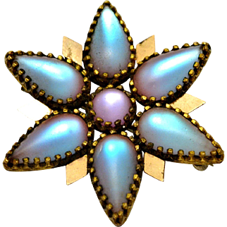 Antique Victorian frosted saphiret art glass teardrop cabochon brass flower or star brooch pendant