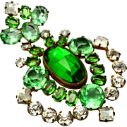 Vintage 1940s huge green glass clear rhinestone shield shaped brooch