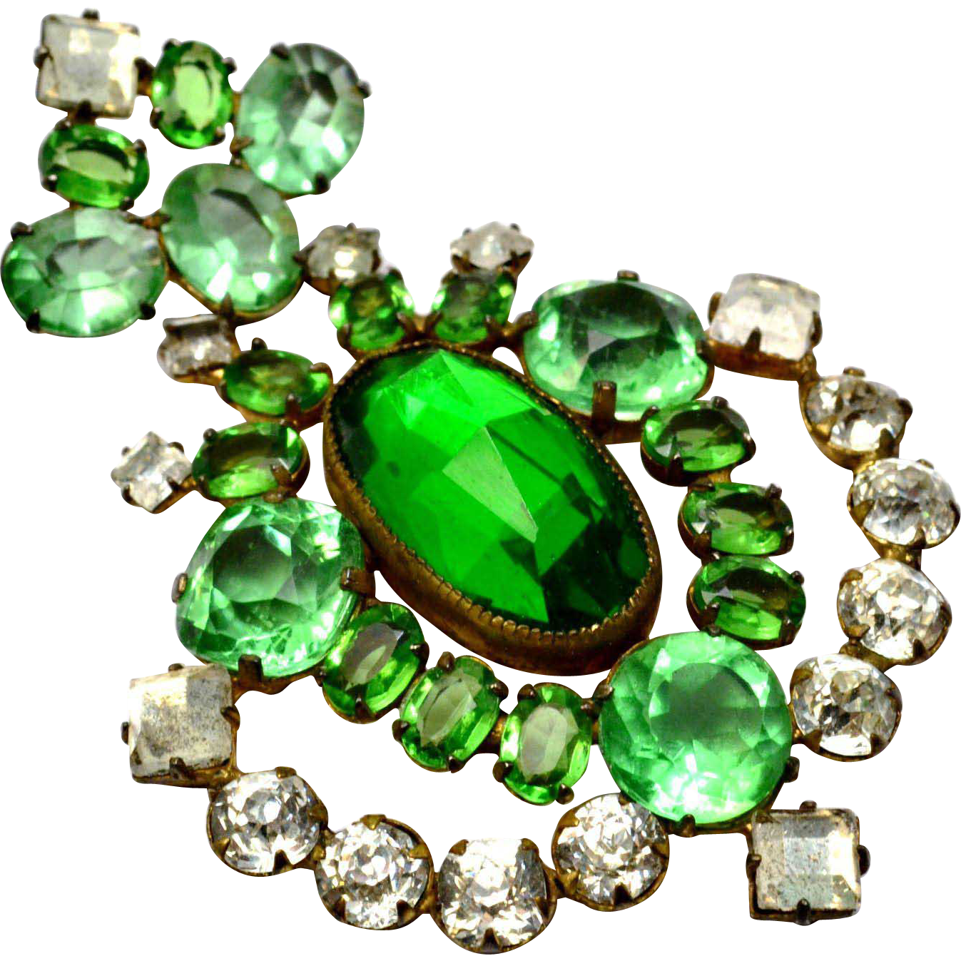 Vintage 1940s huge green glass clear rhinestone shield shaped brooch