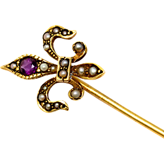 Antique Victorian 14k gold hallmarked amethyst seed pearl fleur de lis stick pin