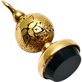Antique Victorian 14k gold black enamel bloodstone seal watch fob charm
