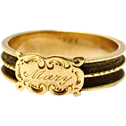 Antique Victorian 14k gold 'Mary' engraved mourning hair ring