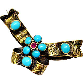 Antique Victorian 14k gold turquoise ruby cab bow and ribbon brooch pin