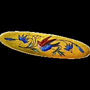 Antique Victorian 14k gold iridescent enamel bird and flowers brooch pin