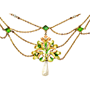Antique Art Nouveau 10k gold iridescent enamel pearl green paste festoon necklace