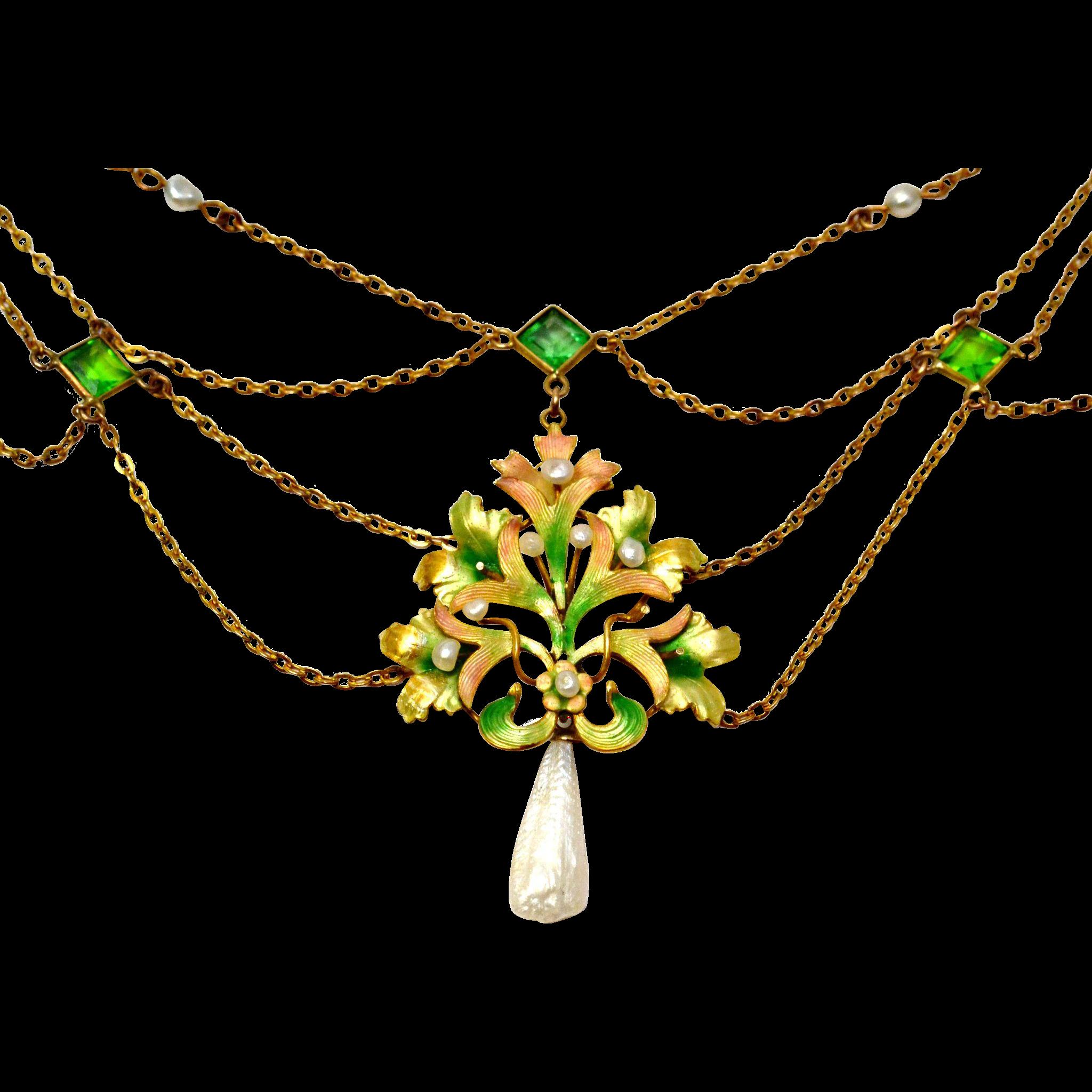 Antique Art Nouveau 10k gold iridescent enamel pearl green paste festoon necklace