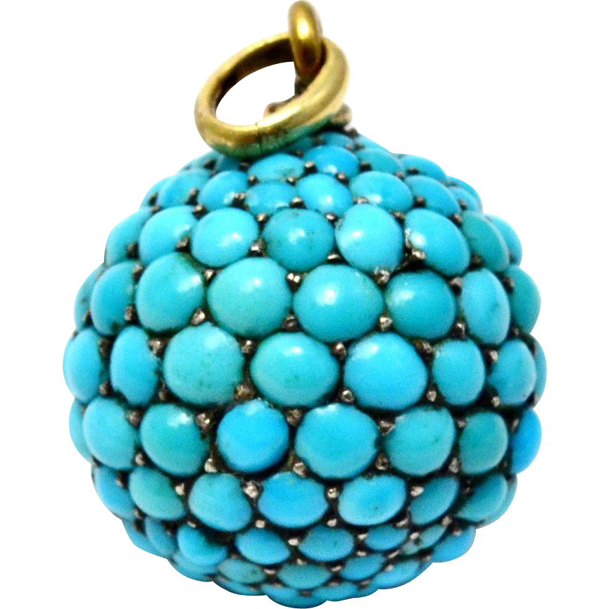 Antique Victorian pave Persian turquoise ball pendant