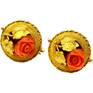 Antique Victorian 14k gold carved coral rose screw back earrings