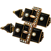 Antique Victorian 10k gold onyx seed pearl buckle mourning earrings