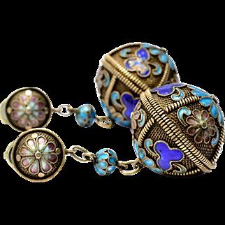 Vintage Chinese gilt silver purple blue enamel floral vinaigrette perfume holder clip on earrings
