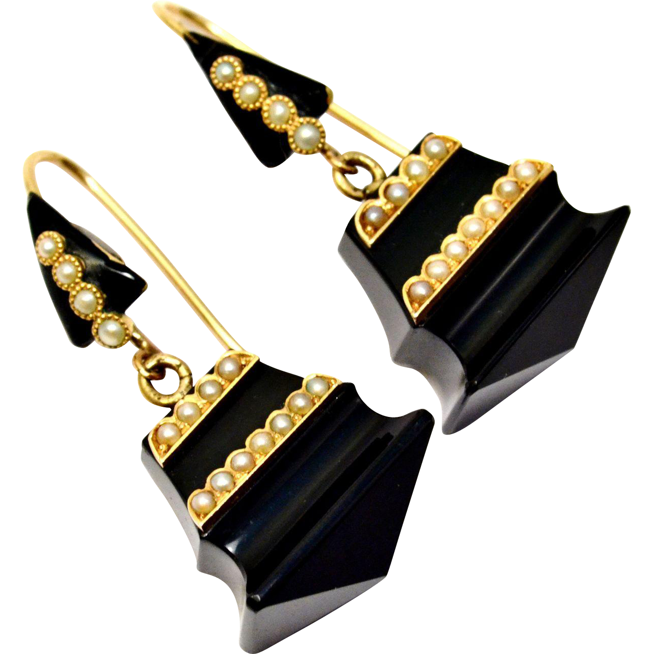 Antique Victorian 14k gold onyx seed pearl drop mourning earrings