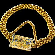 HOLD FOR Julie... Antique Georgian 18k gold floral enamel large box clasp double chain bracelet