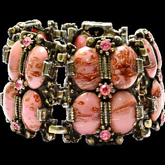 Vintage pink aventurine art glass cab rhinestone wide panel bracelet