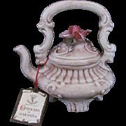 Capodimonte C.C.I. Footed Teapot Tea Pot Rose Finial Original Tag COA