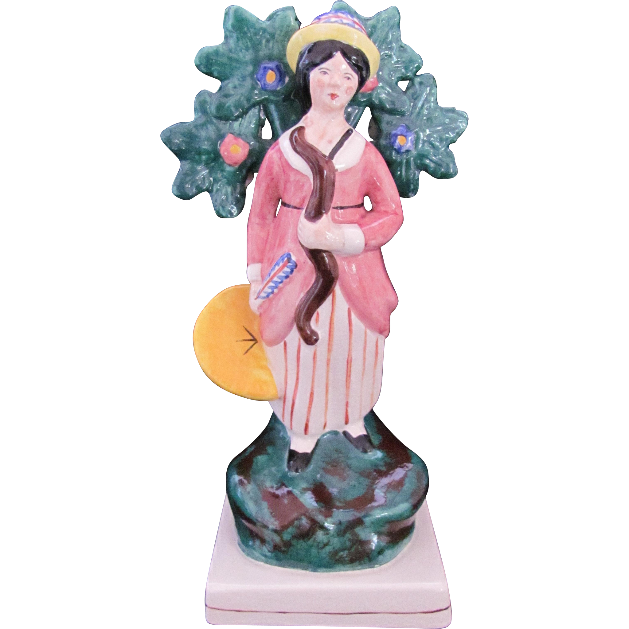 Staffordshire Figurine Lady Archer Figure Bow Arrow Shield Molded Leaves England