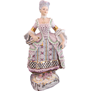Sitzendorf Dresden Woman Lady Pastel Bisque Figure Figurine Voigt Bros. c.1880