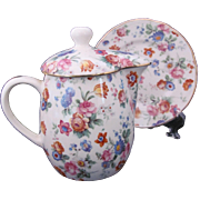 Cheery Chintz Syrup Pitcher Lid & Under Plate 6560/2 Erphila Dorset c.1930's