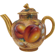 Royal Worcester Miniature Teapot Fruit Hand Painted Signed Frank Roberts