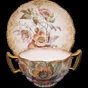 ROYAL DOULTON Burslem Cup Saucer Bouillon Soup c.1886