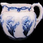 Flow Blue Small Pitcher Shaving Mug Poppy W.H. Grindley c.1897