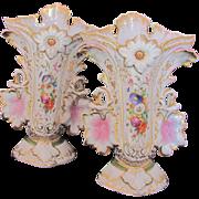 """Pair of Large Old Paris Porcelain Urns Spill or Fan Vases Pink Leaves Handles 11.25"""""""