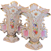 "Old Paris Porcelain Urns Vases Large Pair Pink Leaves Handles 11.25"""
