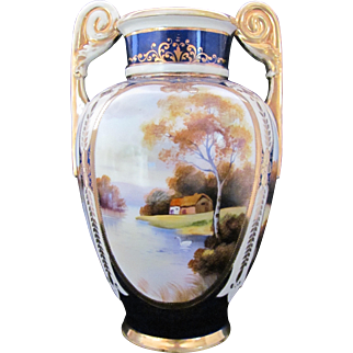 NIPPON Urn Vase Large 10 Inches Cobalt Blue Trees Lake Swan Noritake