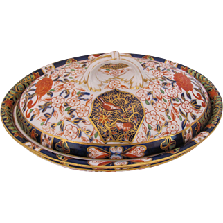 CROWN DERBY Imari Covered Dish Hand Painted Antique 1877 Early Royal Crown Derby