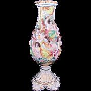Capodimonte Large Vase Harvest Celebration Relief Figures