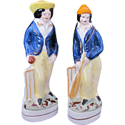 Staffordshire Two Figurines Cricketters Cricket Players England