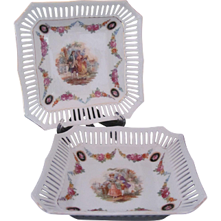 Schumann 2 Dresden Square Dish Bowl Bridal Chain or Dresden Garland Betsy Ross