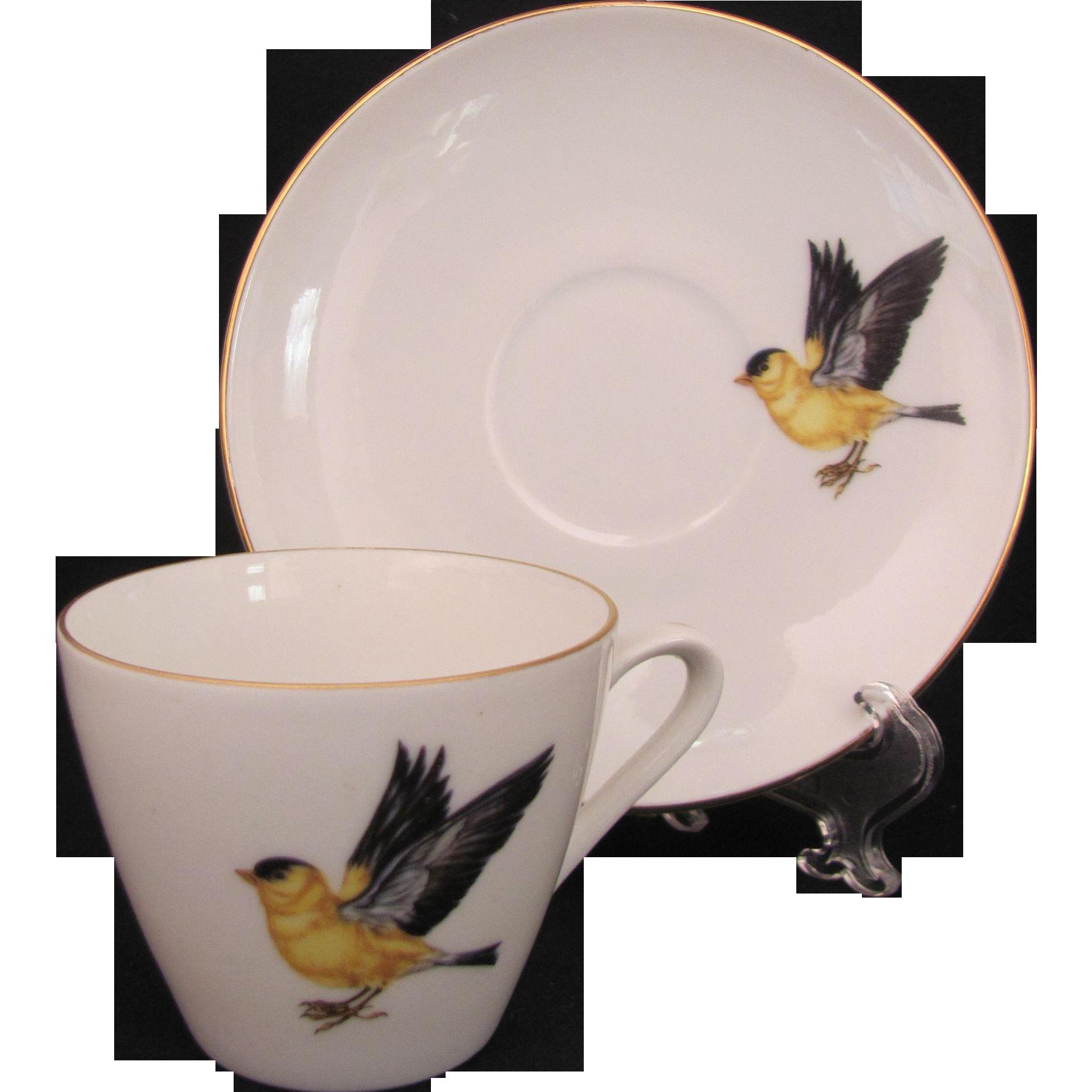 Schumann Bavaria Demitasse Cup Saucer Yellow Bird American Goldfinch Mid-Century